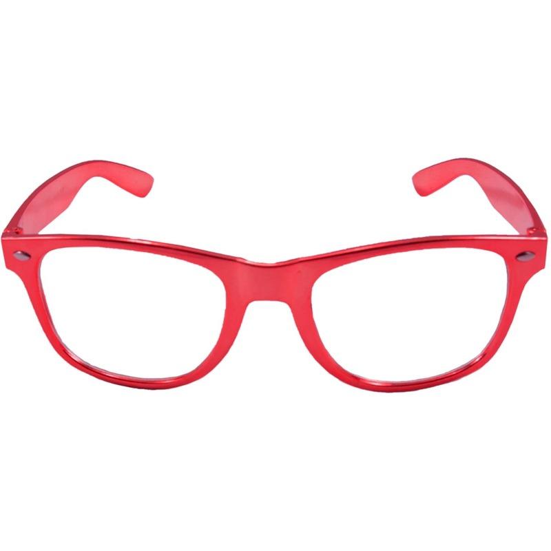 Verkleed bril metallic rood