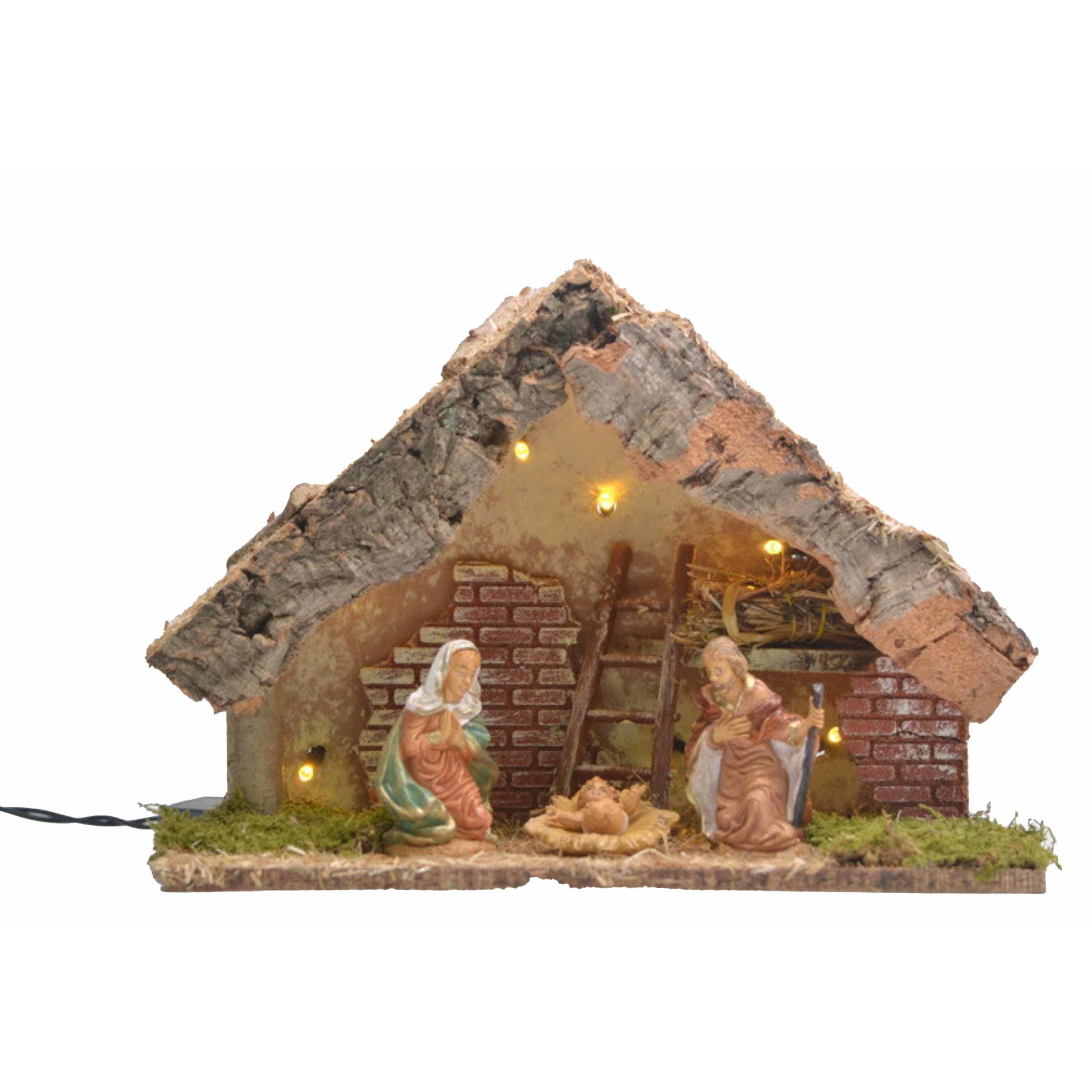 Verlichte kerststal met Jozef, Maria en Jezus beelden 32 x 16 x 24 cm