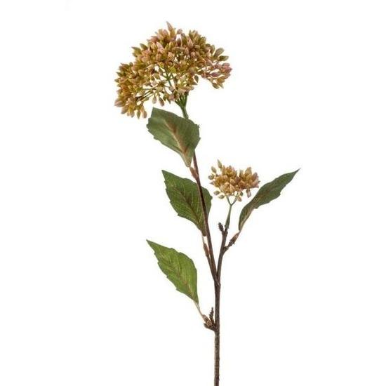 Vetkruid kunstbloem tak groen/oranje62 cm