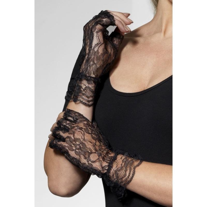 Vingerloze kanten handschoenen zwart voor volwassenen