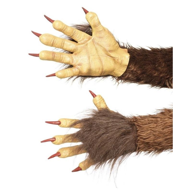 Weerwolf handschoenen bruin met nepbont voor volwassenen