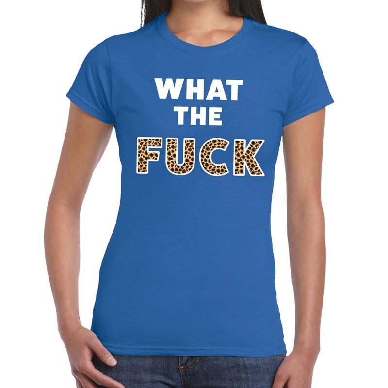 What the Fuck tijger print tekst t-shirt blauw dames