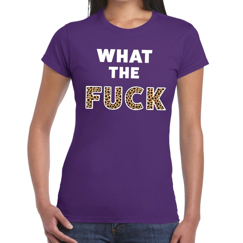 What the Fuck tijger print tekst t-shirt paars dames