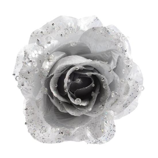 Zilveren glitter roos met clip