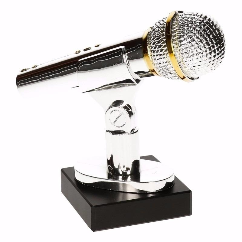 Zilveren karaoke prijs 15 cm