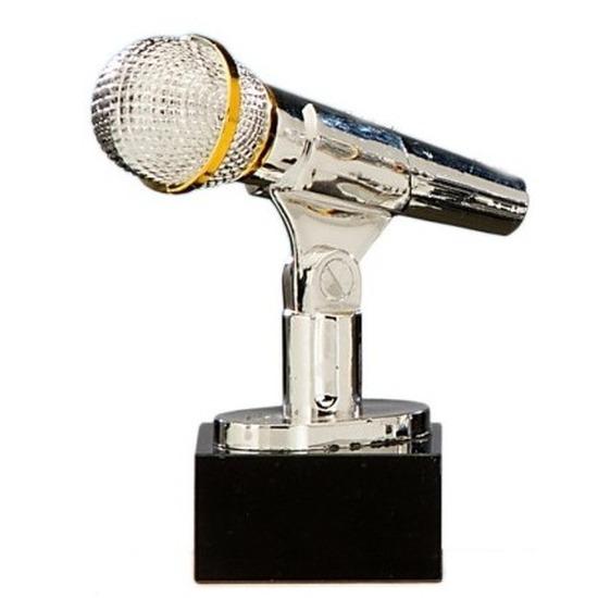Zilveren karaoke prijs 17 cm