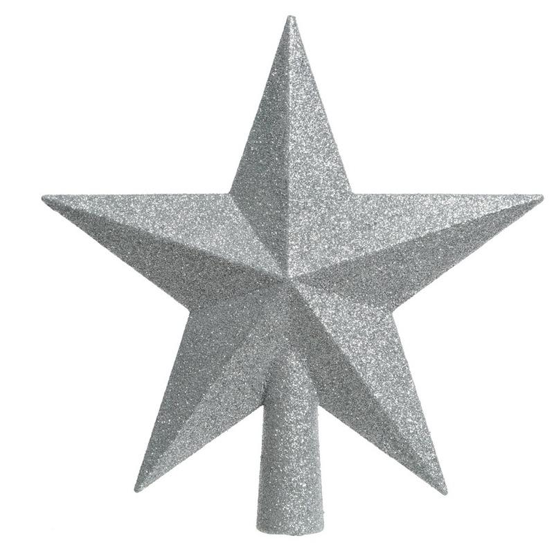 Zilveren kerstboom ster piek van kunststof 19 cm