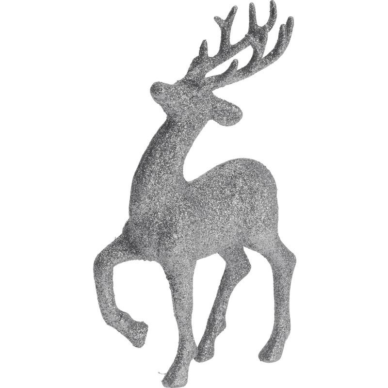 Zilveren rendieren-hertjes deco kersthangers van 17 cm