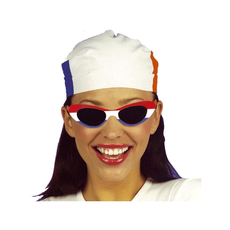 Zonnebrillen rood-wit-blauw no.1 ovaal