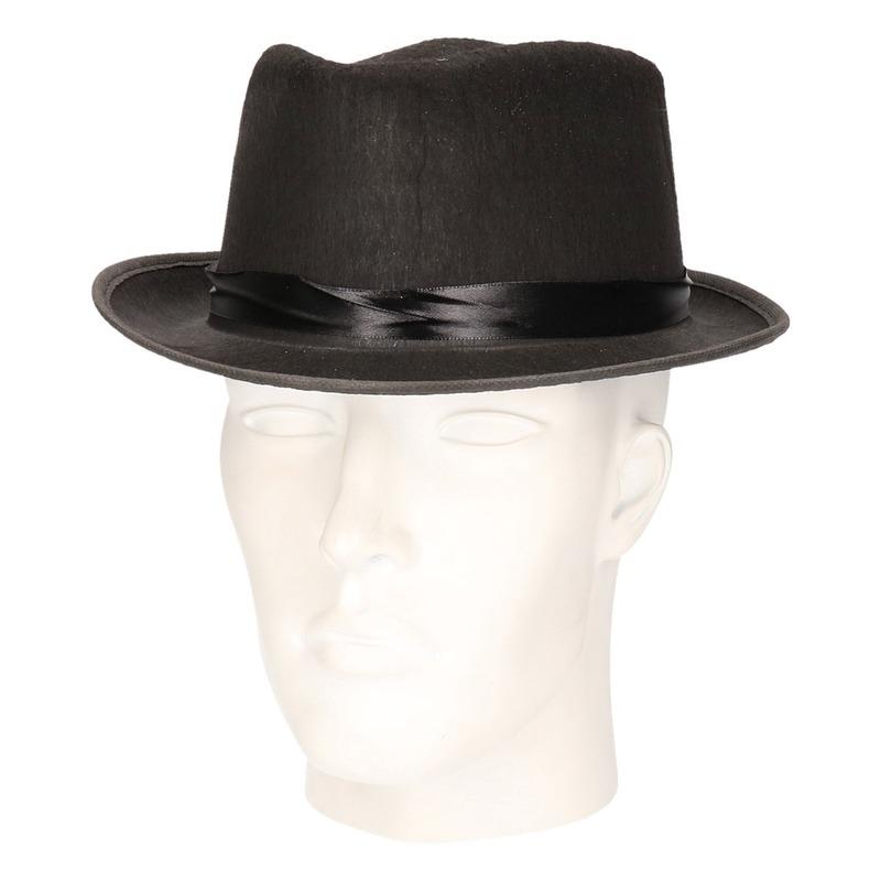 Zwarte Fedora hoed voor volwassenen