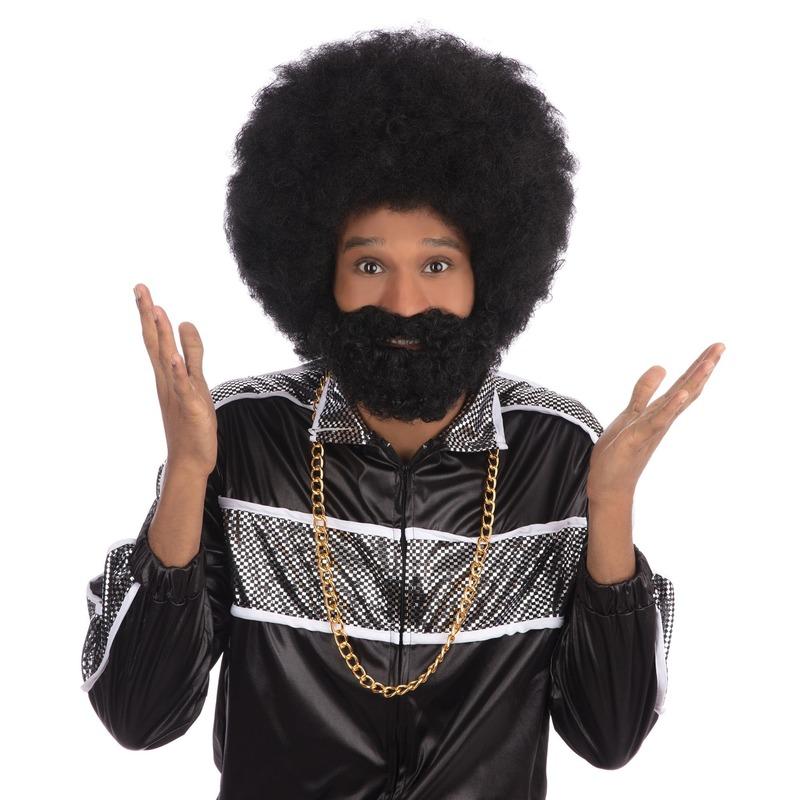 Zwarte ronde afro pruiken